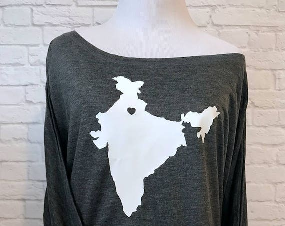 Adoption Love Country India or pic your country with Heart Flowy off the Shoulder Long Sleeve T-shirt