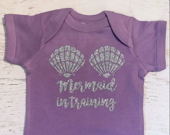Mermaid in Training Shells Glitter in lavender baby bodysuit in Lime can be printed in a variety of colors