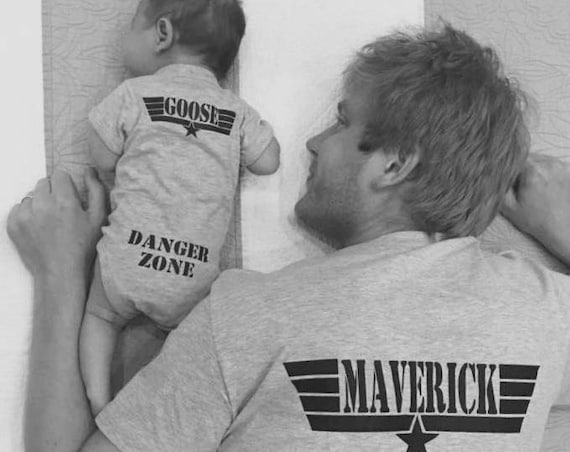 Father's Day Daddy and Baby Matching shirts Aviator Sunglasses on Front Maverick and Goose on Back Danger Zone on bum