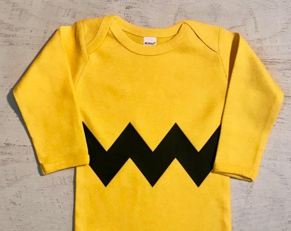 Halloween Costume LONG Sleeve Zig Zag Bodysuit Zig Zag Motif Chevron Style printed on FRONT and BACK side