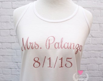 716ed319e5 Custom Bridal Party Tank Tops Custom Names Flowy Racerback Tank Women's  Pictured in White printed in Pink Glitter