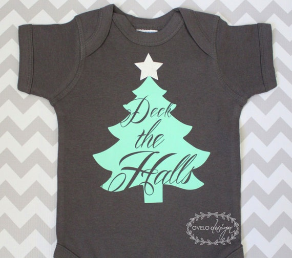 Christmas Tree Deck the Halls non traditional colors bodysuit