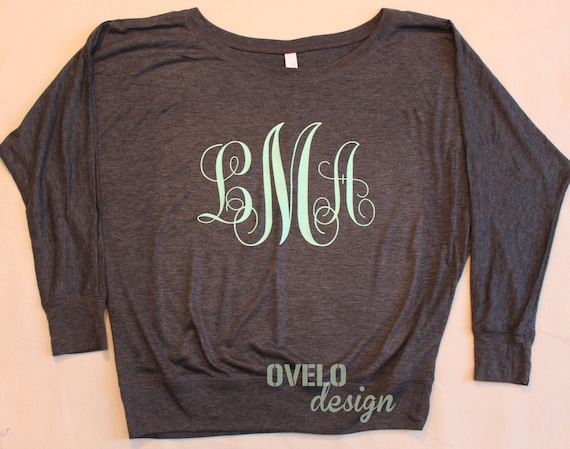 Monogram Flowy off the Shoulder Women's Long Sleeve T-shirt