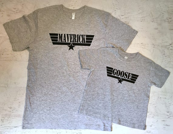 Father's Day Daddy and Baby Matching shirts Maverick and Goose Heather Grey printed in Black