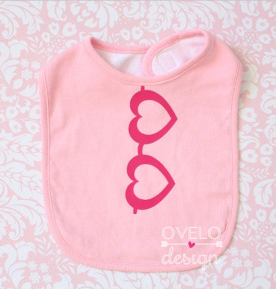Valentines Day Baby Bib with Heart Glasses