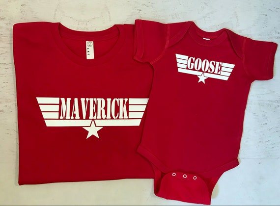 Father and Son Daddy and Baby Matching Maverick and Goose with wings Red shirt and bodysuit with White Print