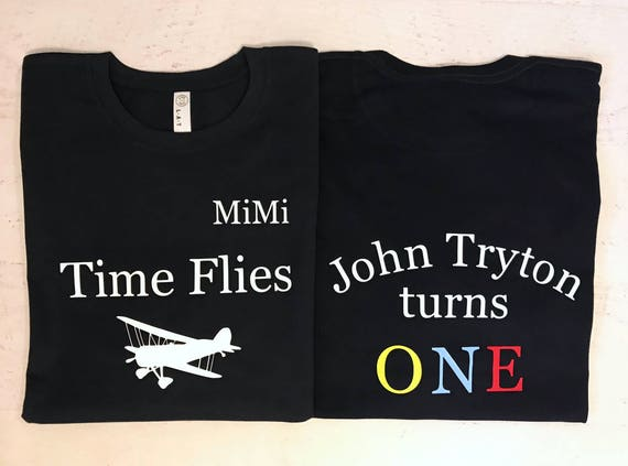 Time Flies Custom Matching shirts for Birthday Party Babies First Birthday Aviator Theme