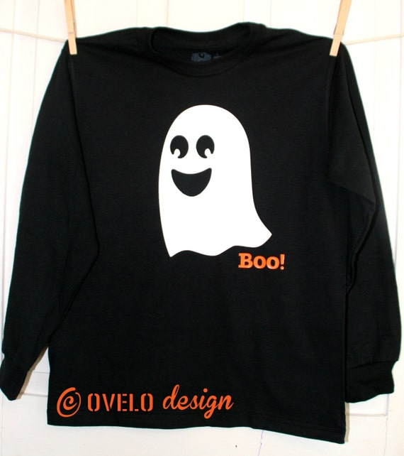 BOO! Ghost that GLOWS in the DARK Pick Long Sleeve T-shirt or Baby Bodysuit