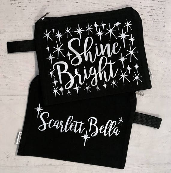 Canvas Makeup Bag Shine Bright Black with Silver Metallic Print with Vintage Style Stars with Name on Other Side