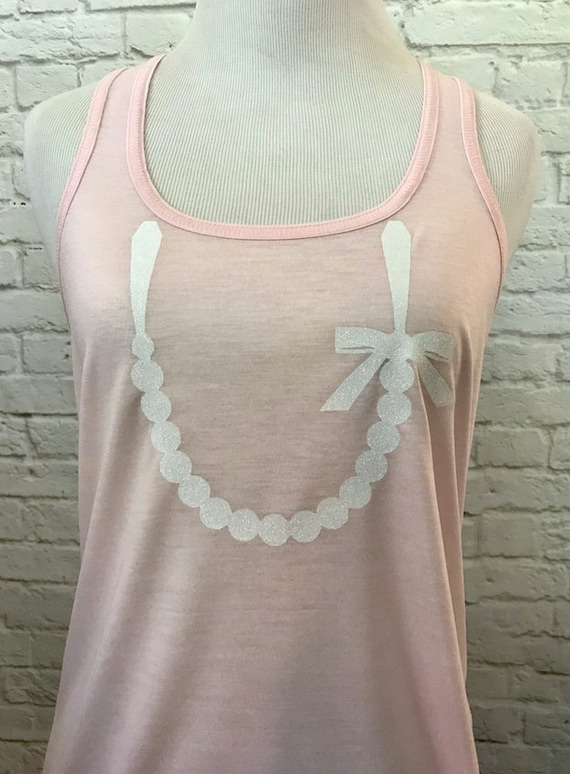 Pearl Necklace Tank Top Glitter Sparkle print Women's Racerback Flowy Tank Top Light Pink