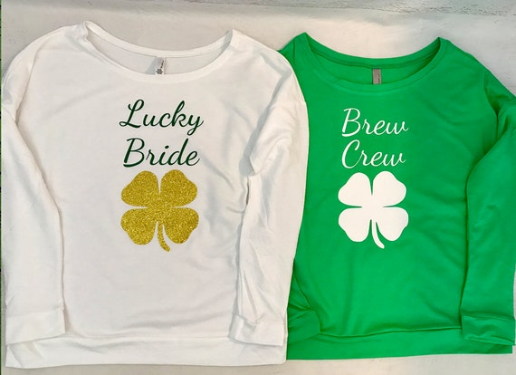 Lucky Bride and Brew Crew Four Leaf Clover Saint Patricks Day Long Sleeve Sweatshirt Bachelorette Party