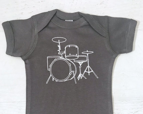 Drum Set Baby Bodysuit pictured in Charcoal and White