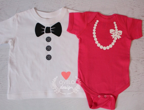 Tux and Pearl Necklace on T-shirts or bodysuits for twins or siblings