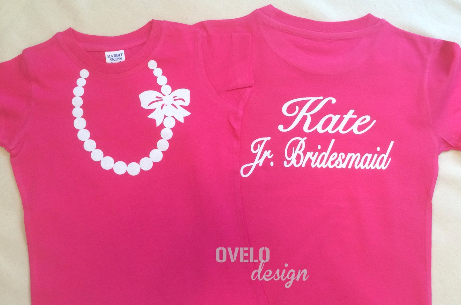 e1ce609c46de6 Custom Personalized Jr. Bridesmaid T-shirt on Back Pearl Necklace on Front