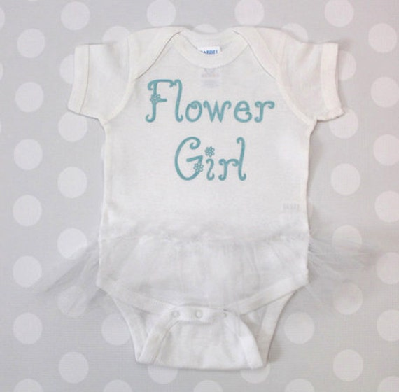 Flower Girl Ballerina Bodysuit with Tutu Printed in Metallic Teal Pick your Colors