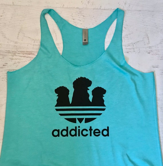 Addicted Silkie Chicken Racerback Tank Top pictured in Tahiti Blue with Black Print