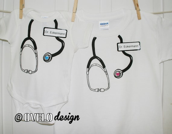 Custom Name Tag Stethoscope Onesie and T shirt Set for your Medical Professional, Doctor, Nurse, EMT