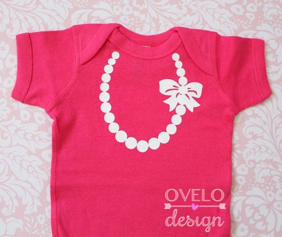 Baby Pearl Necklace Bodysuit with Bow pictured Hot Pink with White Necklace & Bow