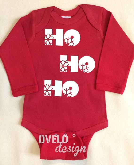 HO HO HO Baby Bodysuit Long Sleeve in Red