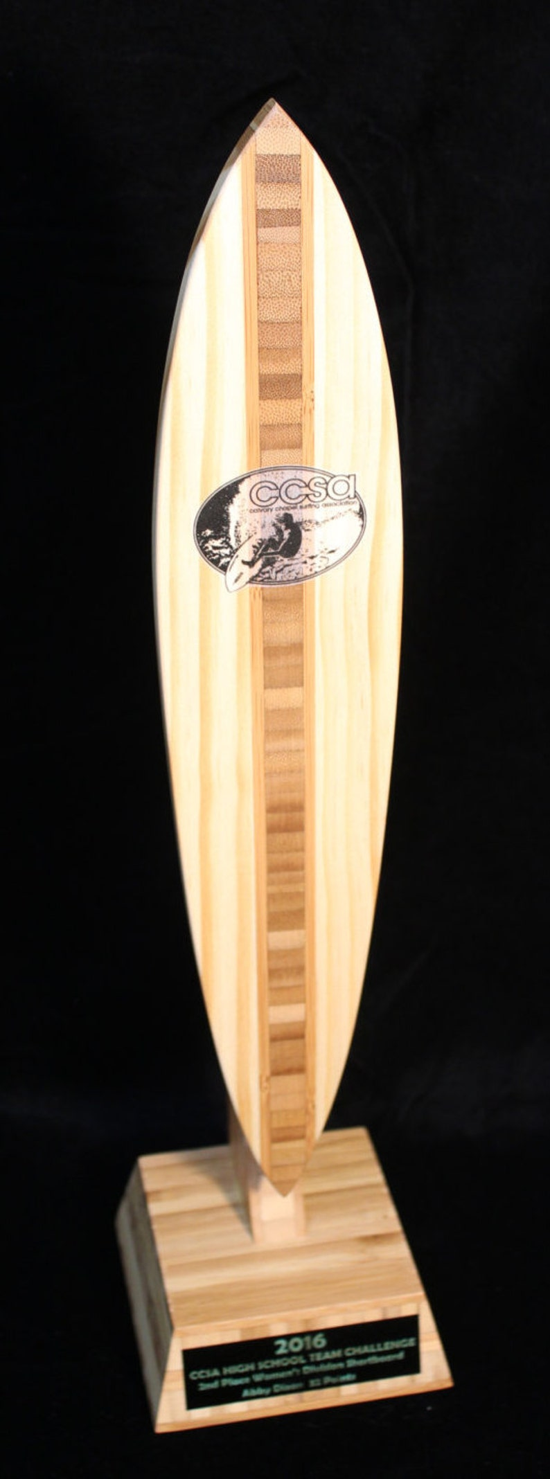 Custom Bamboo Board Surf Trophy Pintail Longboard Bodyboard by Dave C  Reynolds