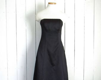 90s Black Strapless Dress - Vintage Rhinestone Trim Prom Party Evening Gown - Jump Apparel Wendye Chaitin - Size 3 / 4 Small S