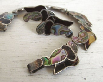 Abalone Tortoise Shell Bracelet and Earrings Set - Taxco LS Silver - Boho Hippie Style - 1950s Vintage Mexico Sterling Jewelry Set - Signed