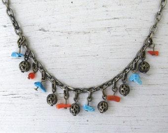 Gemstone Chip Necklace - 90s does 70s Hippie Boho Charm Necklace - Blue Orange Tumbled Stone Necklace - 2 Available