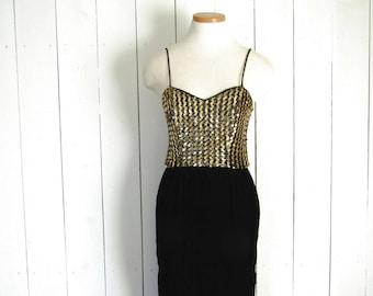 Velvet Sequin Dress - Vintage Glam Rock Cocktail Dress - 1980s New Leaf Dress by Samir - Gold Black - Small S