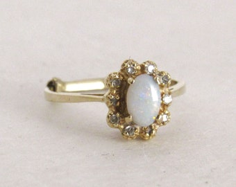 Opal Diamond Ring - Vintage 1960s JM Fox 14 Kt Gold Ring - Mid Century Ring - October Birthstone Ring - Size 5.5 or Size 7