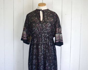 60s Maxi Dress Bell Sleeve Hippie Boho Vintage Dress Black Pink Paisley Print Summer of Love Small S / Medium M