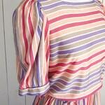 Cotton Sun Dress 80s Pastel Striped Vintage Day Dress Pink Purple Orange Byer Too! Medium M