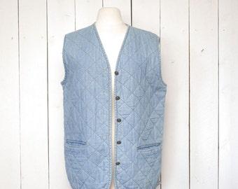80s Quilted Denim Vest Vintage Express Light Wash Jean Button Up Waistcoat Medium M / Large L