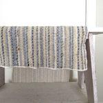 Woven Table Runner 1970s Vintage Hippie Boho Long Dining Table Decor Blue Beige