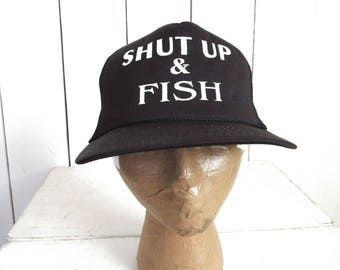 90s Funny Trucker Hat Shut Up   Fish Hat Vintage Mesh Back Fishing Hat 47783a15089