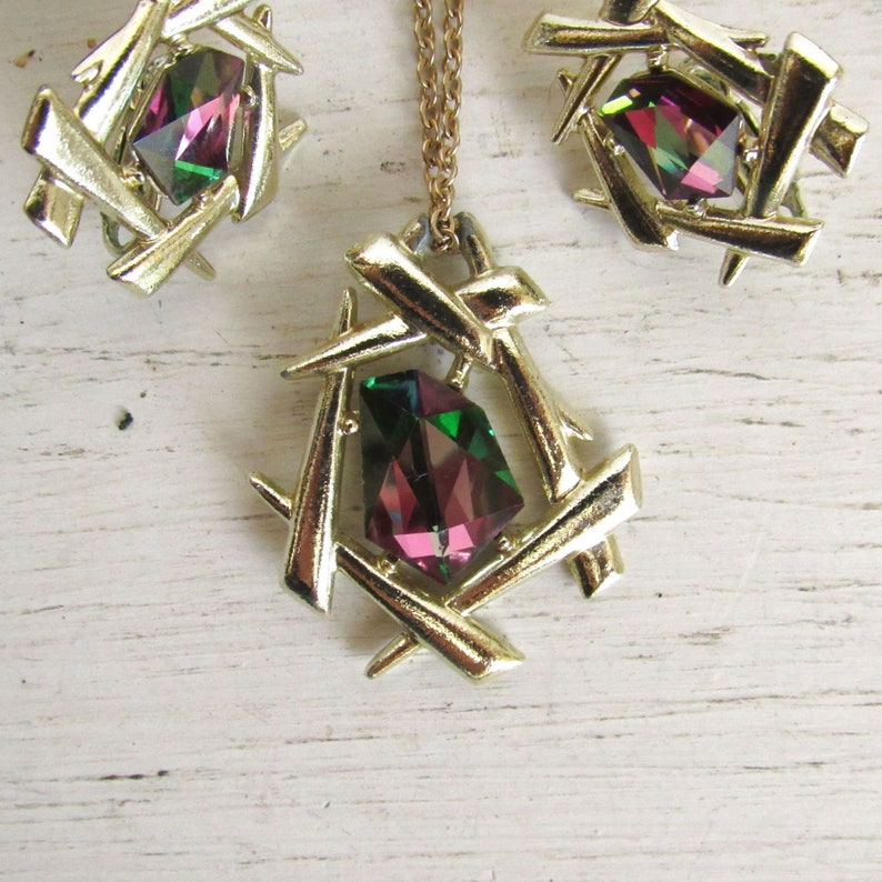 Watermelon Rhinestone Necklace and Earrings Set  Sarah image 0