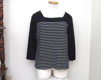 90s Womens Top - Vintage Nautica Cotton Top - Striped Nautical 3/4 Sleeve Knit Top - Black White - Medium M