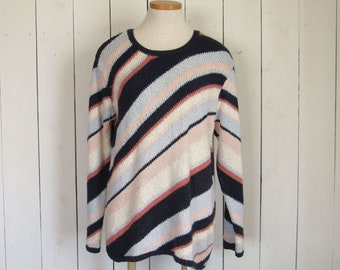 Vintage Slouchy Sweater - 1980s Beach Boho Style Striped Sweater - Cotton Pullover - Navy and Baby Blue White Pink - Medium M / Large L