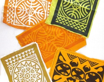 Vintage Block Print Fabrics - 1960s Guatemalan Tribal Fabric Pieces - Fabric Bunting Flags