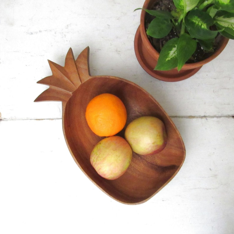 Wooden Pineapple Bowl  Vintage 1970s Natural Wood Shallow image 0