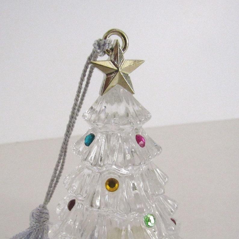 Crystal Christmas Tree Ornament  90s Vintage Christmas  image 0
