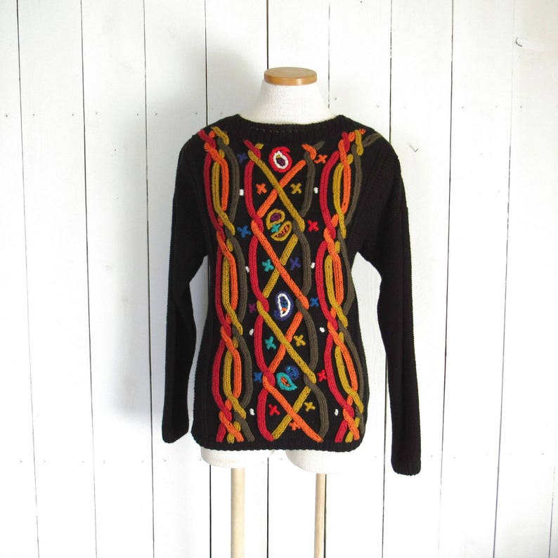 Cable Knit Sweater  Kitty Hawk  Vintage 1980s Funky Pullover image 0