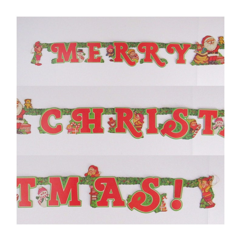 Vintage Christmas Banner  1980s Holiday Decor  Cartoon image 0