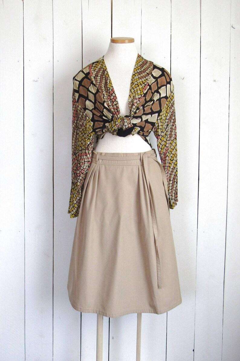 Vintage Wrap Skirt  1970s LL Bean Aline Skirt  Folk Style image 0