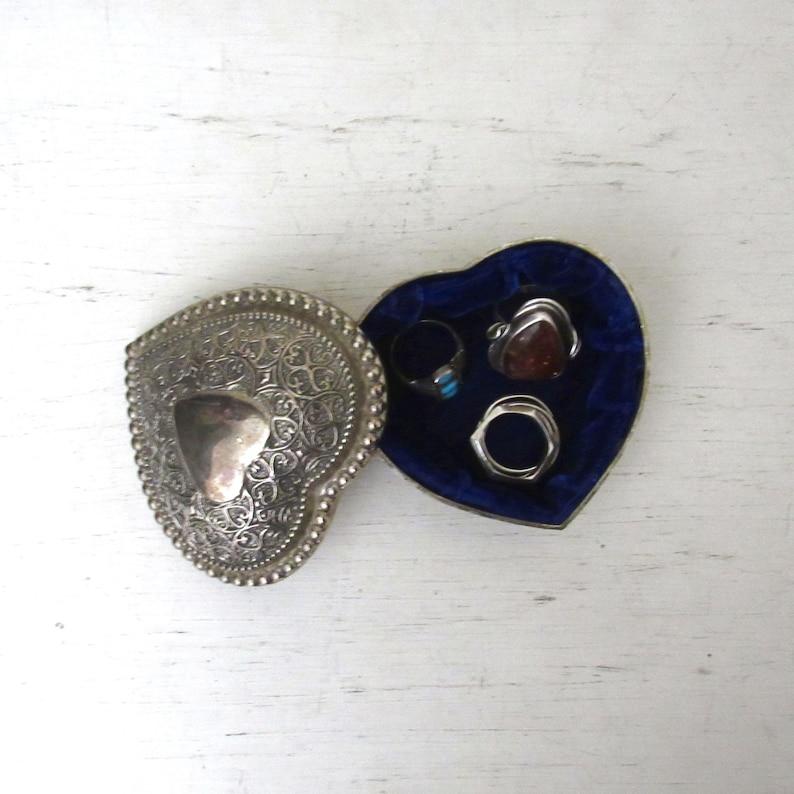 Silver Ring Box  Vintage Heart Shaped Jewelry Box  Blue Felt image 0