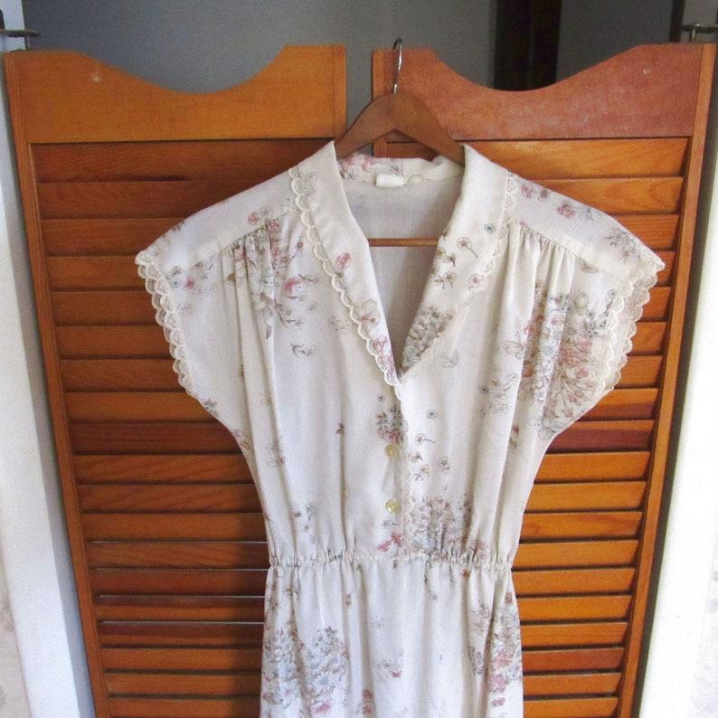 60s Floral Dress  Hippie Boho Vintage Cap Sleeve Cotton Midi image 0