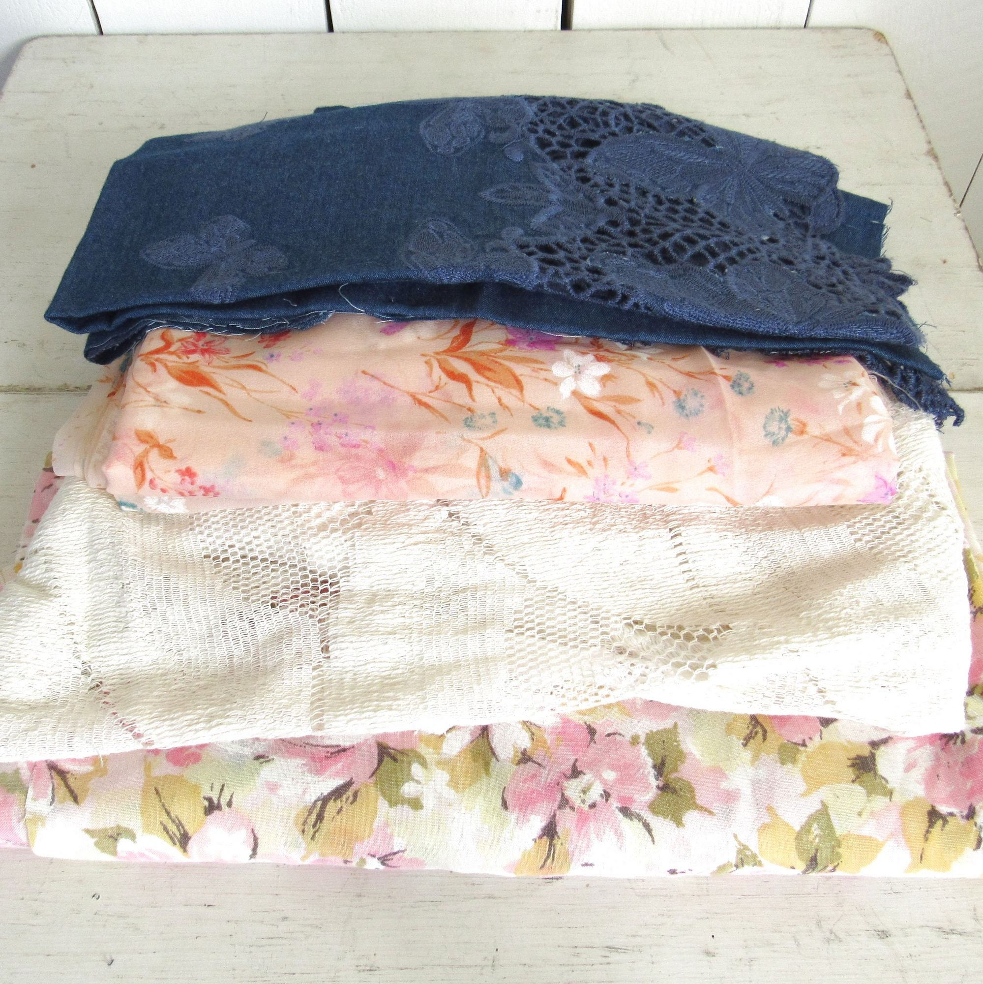 Floral Lace Fabrics 70s Vintage And Modern Fabric Lot Pink Etsy Bike Tool 15 In 1 With Chain Cutter United Hijau Zoom