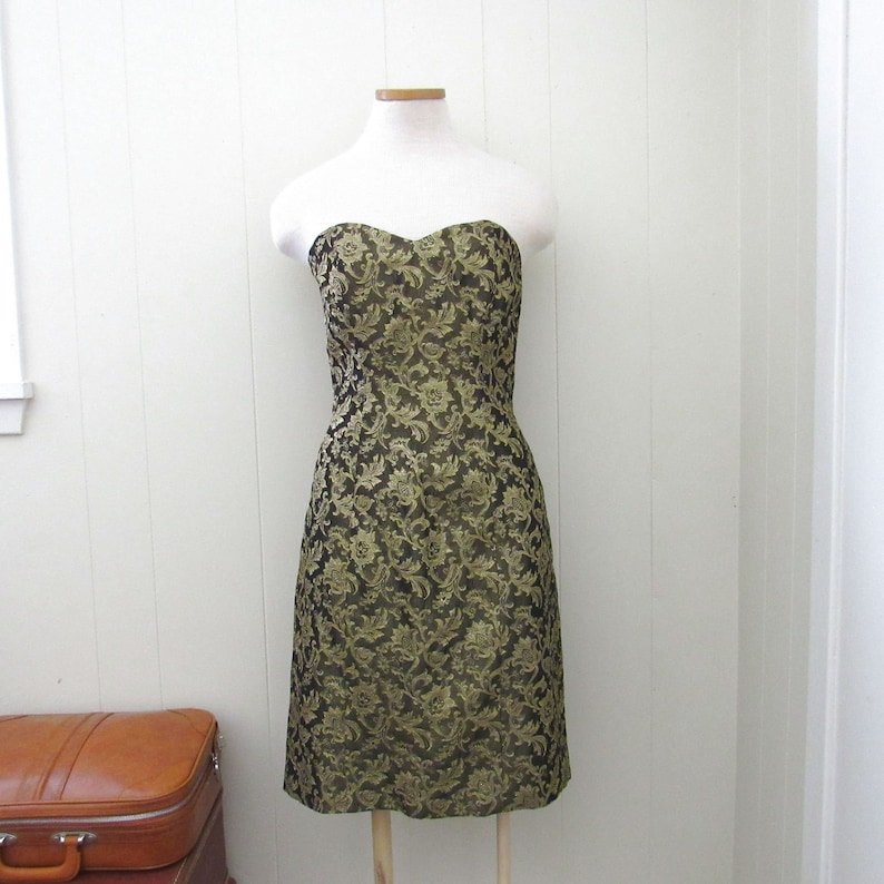 Strapless Party Dress  Vintage 80s Prom Cocktail Dress  image 0