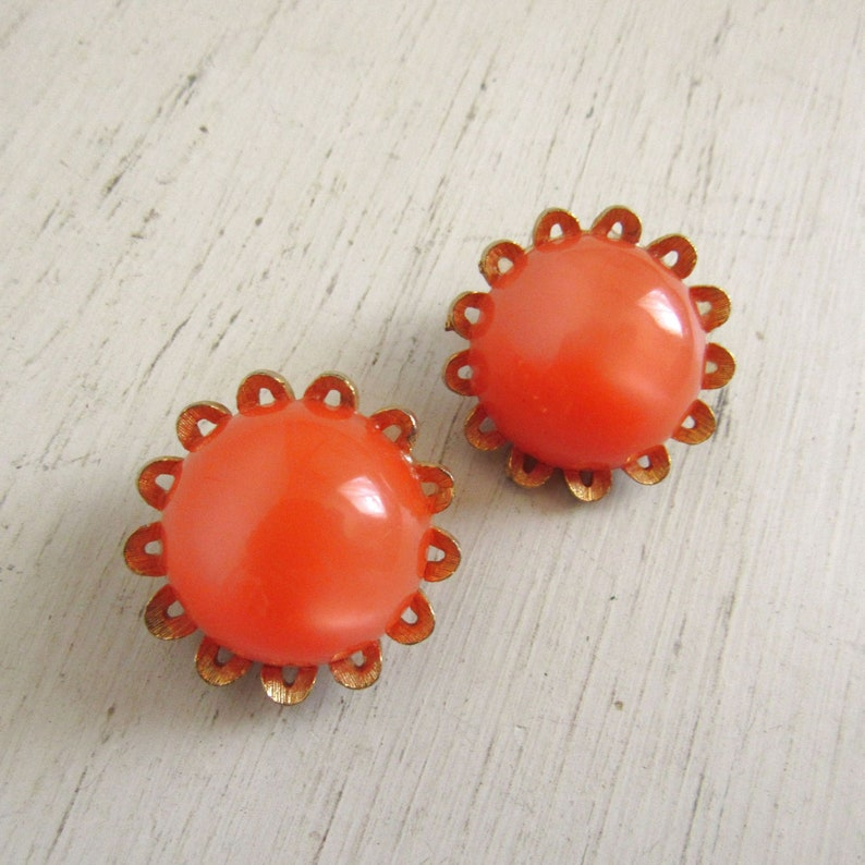 60s Cabochon Earrings  Vintage Mod Floral Clip On STAR image 0