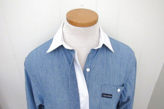 Contrast Collar Button Down - 90s Vintage Womens C