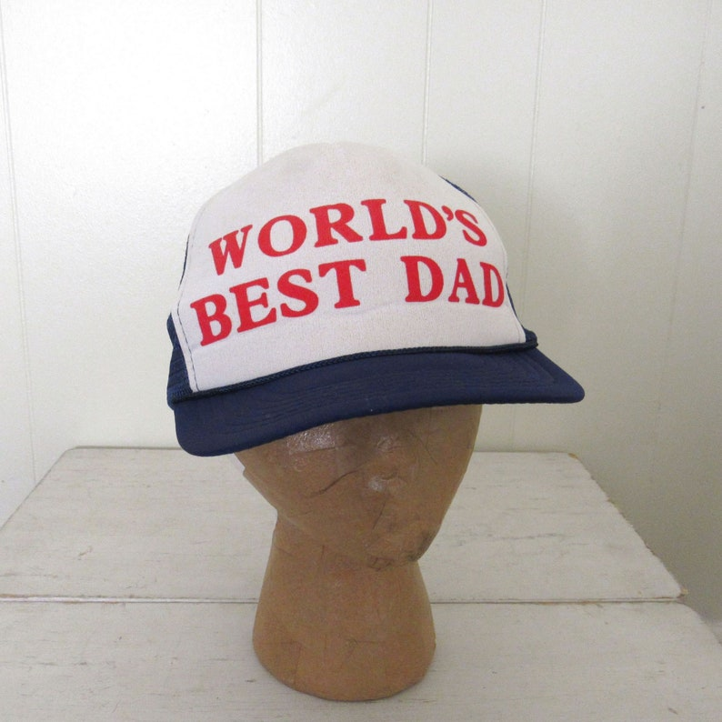 f4073d87447 Worlds Best Dad Trucker Hat Vintage 80s Red White Blue | Etsy